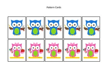 Owls themed Pattern Cards #1 preschool printable activity.  Daycare Curriculum.