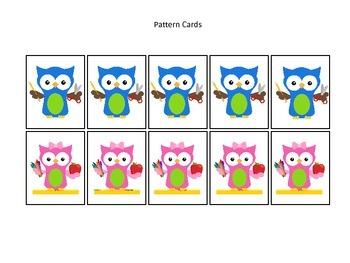 Owls themed Pattern Cards #1 preschool printable activity.