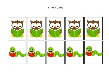 Owls themed Pattern Cards #2 preschool printable activity.  Daycare Curriculum.