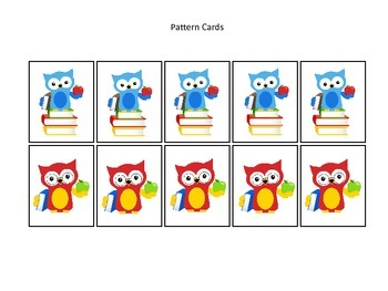 Owls themed Pattern Cards #3 preschool printable activity.  Daycare Curriculum.