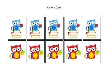 Owls themed Pattern Cards #3 preschool printable activity.