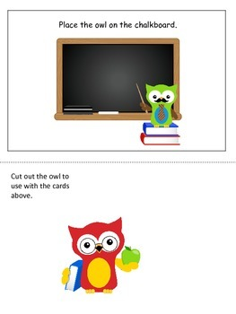 Owls themed Positional Cards preschool learning game.  Daycare game.