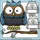 Owls with Sign Labels Clip Art Set - Chirp Graphics