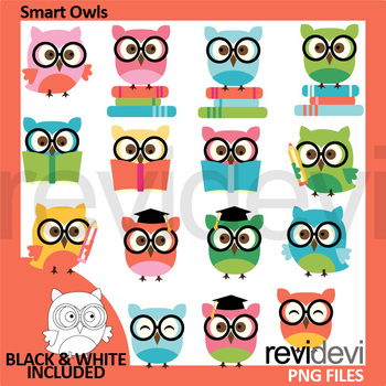 Owls with glasses and books clip art - Smart Owls Clipart