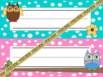 Nameplates: Owls on pastel polka dots