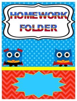 Owls/Superhero Homework Folder