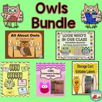 Owltastic Bundle, Writing Activities, Editable Labels, Bul