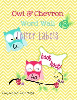 Owls and Chevron Word Wall Letters