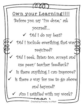 Own Your Learning Poster