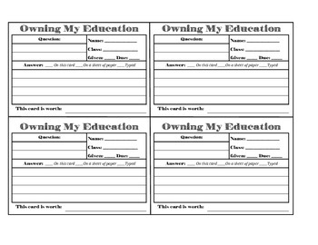 Owning My Education Card - Student Ownership