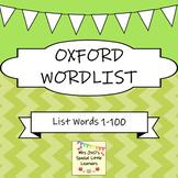 Oxford 1-100 Word List Flash Cards ~ Green Set