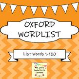 Oxford 1-100 Word List Flash Cards ~ Orange Set
