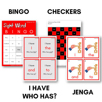 Oxford List Sight Word Games (First Hundred) - Bingo, Dominoes, and Board Games