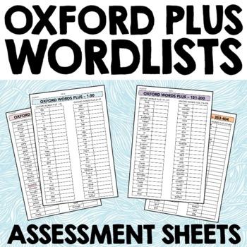 Oxford Plus Wordlist - checklists for Sight Word or Spelli