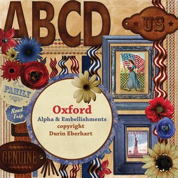 Oxford Printable Digital Alpha and Embellishments