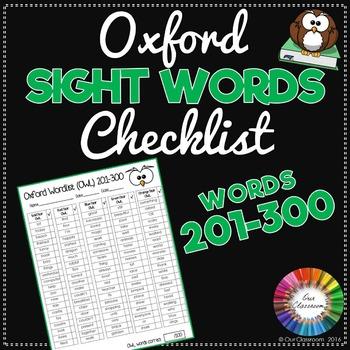 Oxford Sight Words 201-300 Checklist