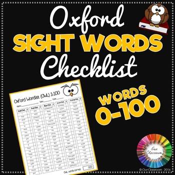 Sight Words 1-100 Checklist - Oxford Word List