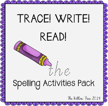 Spelling Activities Pack - 100 Oxford Words {TRACE, WRITE, READ}