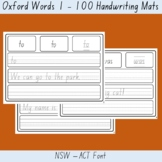 Oxford Word List 1 - 100 NSW ACT Font Writing Word Mat List Home Distance Remote