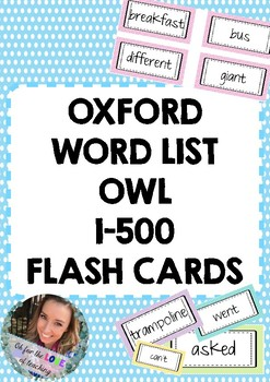 Oxford Word List (OWL) 1-500 Flashcards