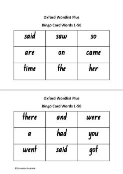 Oxford Wordlist Plus Bingo Set - Words 1 - 50 - Sight Words