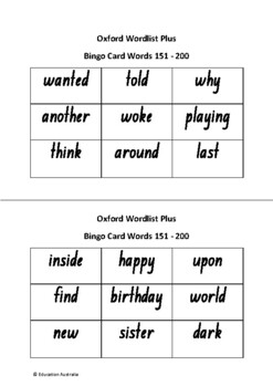 Oxford Wordlist Plus Bingo Set - Words 151 - 200 - Sight Words