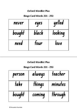 Oxford Wordlist Plus Bingo Set - Words 201 - 250 - Sight Words