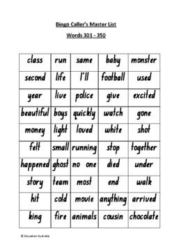 Oxford Wordlist Plus Bingo Set - Words 301 - 350 - Sight Words