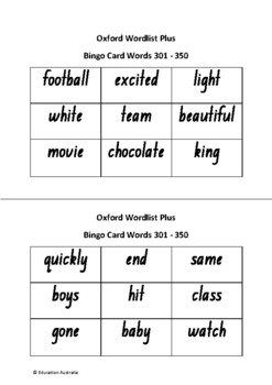 Oxford Wordlist Plus Bingo Set - Words 301 - 350 - Sight Words