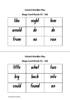 Oxford Wordlist Plus Bingo Set - Words 51 - 100 - Sight Words