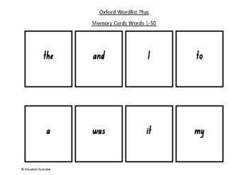 Oxford Wordlist Plus Flash Cards Set - Words 1 - 50 - Memory / Sight Words