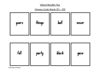Oxford Wordlist Plus Flash Cards Set - Words 201 - 250 - Memory / Sight Words