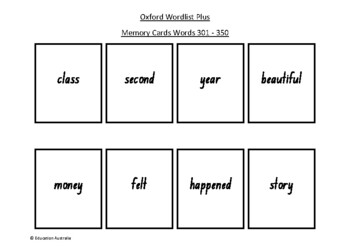 Oxford Wordlist Plus Flash Cards Set - Words 301 - 350 - Memory / Sight Words