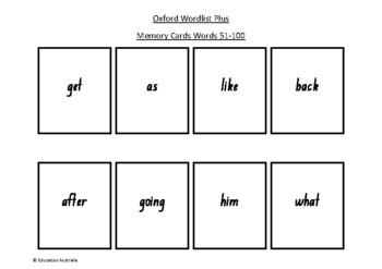 Oxford Wordlist Plus Flash Cards Set - Words 51 - 100 - Memory / Sight Words