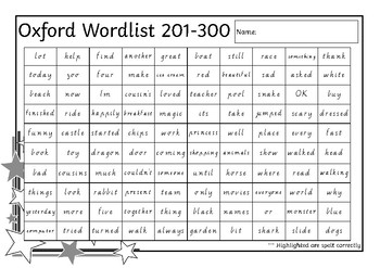 Oxford Wordlist Template