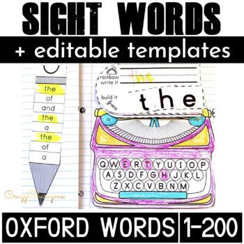Oxford Sight Words Activities Bundle (200 words)