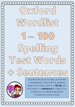 #ausbts18 Oxford Words List - 1 - 100 + Sentences