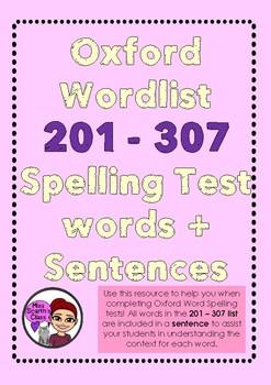 Oxford Words List - 201 - 307 + Sentences!