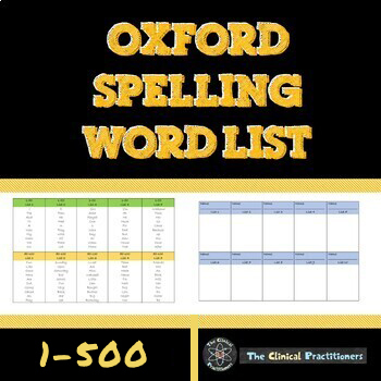 Oxford Spelling Word Lists