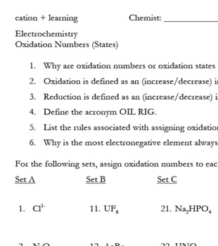 Oxidation Numbers (States) by cation learning | Teachers Pay Teachers