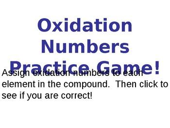 Oxidation Numbers Practice Quiz / Game