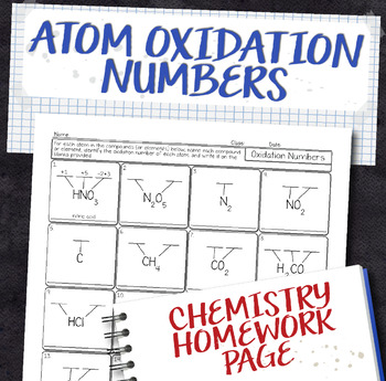 Oxidation Numbers within a Compound Chemistry Homework Worksheet
