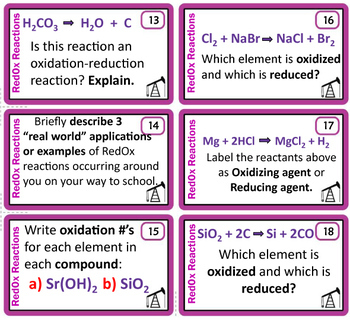 Oxidation-Reduction~ 28 Chemistry Task Cards~RedOx Reactions~