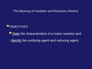 Oxidation Reduction Reactions Explained (PowerPoint Presentation/Handout)