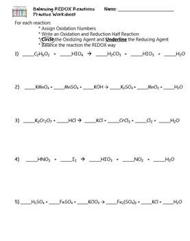 Oxidation and Reduction: Balancing REDOX Reactions