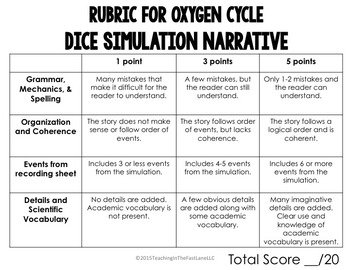 Oxygen Cycle Dice Simulation with Writing Connection