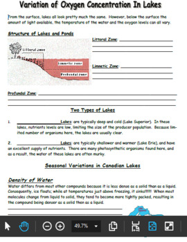 Oxygen Variation in Lakes: Student Note & Smartboard Lesson