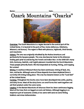 """Ozark Mountains """"Ozarks"""" - lesson full history facts information questions vocab"""