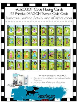 image about Printable Playing Cards identify Ozobot 52 Printable DRAGON Code Actively playing Playing cards