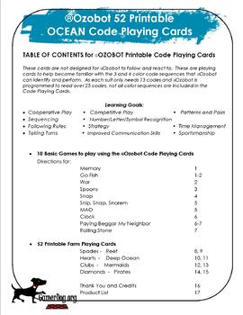 Ozobot 52 Printable OCEAN Code Playing Cards